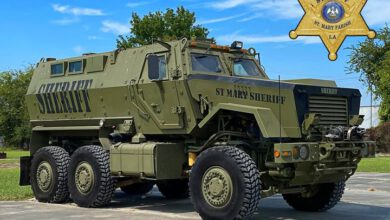 Photo of St. Mary Parish Sheriff Blaise Smith announces the acquisition of a Mine Resistant Ambush Protected vehicle for the SMPSO